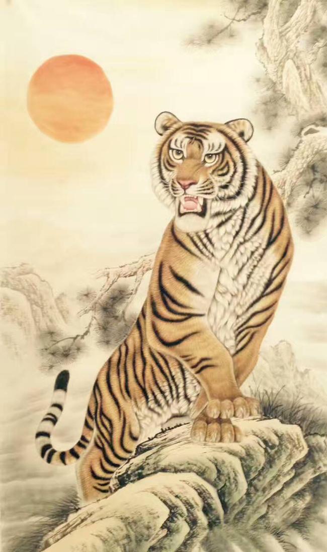 壁纸 动物 国画 虎 老虎 桌面 650_1095 竖版 竖屏 手机